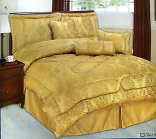 7 Piece Comforter / Bedspread. Set Windsor Gold Double inc 3 filled cushions