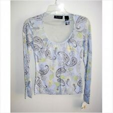 Womens AXCESS Paisley Swoop Neck LS Top Shirt, Size S