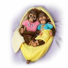 Frankie & Fiona Twin Monkey Doll Set with Fleece Banana Bunting by Ashton Drake