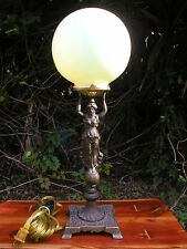 Custard Vaseline Victorian lady globe Brass table/ accent / mood lamp