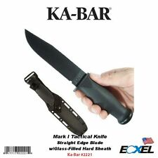 Ka-Bar #2221 Mark I Tactical Knife, Straight Edge, w/Glass-Filled Hard Sheath
