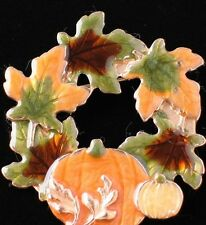 NIB KC FALL THANKSGIVING HARVEST PUMPKIN LEAVES LEAF WREATH PIN BROOCH JEWELRY