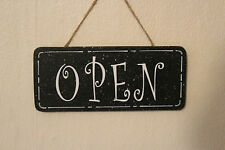 Lovely Decorative Hand-crafted Wooden sign/plaque OPEN/CLOSED (White on Black)