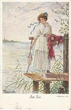 Am See, Frau mit Sonnenschirm auf dem Bootssteg, Mailick Künstlerkarte von 1915