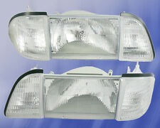1987-1993 Mustang Stock Headlights 6 piece Set w/ CLEAR Side Markers - SAE/DOT