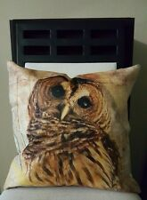 "Beautiful Handsome Wise Barn Owl Linen Throw Pillow Case Cover 18"" US Seller"
