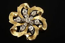 LARGE ANTIQUE VICTORIAN BROOCH 14K GOLD WITH 12 DIAMONDS TOTALING 2.05 CTS $3500