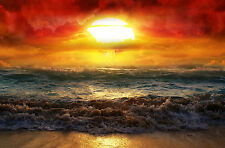 Framed Print - Colourful Storm at Sea (Ocean Waves Sunset Picture Poster Art)