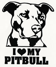 White I Love My Pitbull  Decal / Sticker for Car