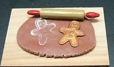Dollhouse miniatures handcrafted1:12 making gingerbread cookies w/dough & cutter