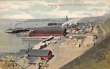 Washington postcard Everett, View of Water Front ca 1910 aerial birds eye view