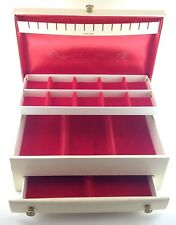 Vintage Lady Buxton Large White Jewelry Box Red Velvet Interior Tier Drawers