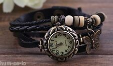 VINTAGE RETRO BEADED BRACELET LEATHER WOMEN WRIST WATCH -ROUND  BLACK