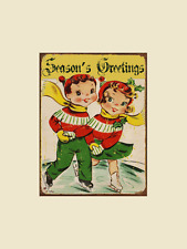 Seasons Greetings Skater Metal Sign, Vintage Christmas, Holiday Decor