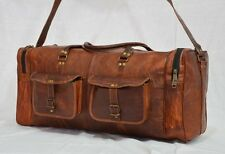 "24"" New Genuine Leather Large Vintage Duffle Travel Gym Weekend Overnight Bag"