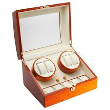 Diplomat Cherry Wood Wood Watch Winder with Off-White Leather Interior