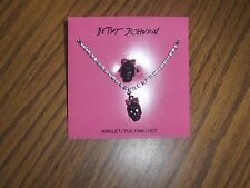 RARE AUTHENTIC:  Betsey Johnson Skull w/Pink Bow Anklet & Toe Ring Set