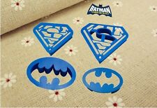 4 Pieces Batman Superman Fondant Cookie Gum Paste Cutter Plunger Embosser Set