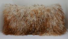 Real Mongolian Tibetan Lamb Fur Pillow 3 tone New made in usa Tibet cushion