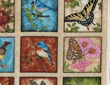 Morris Spring Symphony Butterfly Bird Panel Pink Floral Rose Daisy Quilt Fabric