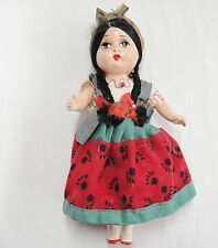 """Vintage Composition Doll  Mexican Girl 9"""" Black Braids Red & Green Skirt"""