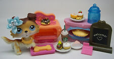 LITTLEST PET SHOP RARE SAGE BOND COLLIE DOG TAN BROWN #58 BAKE SALE ACCESSORIES
