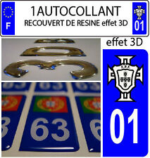 1 sticker plaque immatriculation AUTO TUNING 3D RESINE FPF PORTUGAL DEPA 01