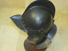Authentic Black and White Burgonet Helmet - 16th Century