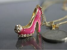 N14 Betsey Johnson Crystal Pink Mini High Heels Q V&A Couture Style Necklace US