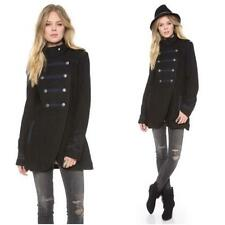 Free People Military Black Navy Wool Peacoat Coat Size 10 $295 FTC #4513