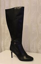 Karen Millen Luxury Buckle Leather Knee Zip Black Boots UK 7 40