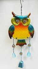 Owl Bell Wind Chime + Metal Sun Catcher Fused Glass, Marbles, Faceted Beads  21""