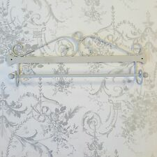 Shabby Chic Scroll Pale Grey Metal Wall Towel Rail Rack Display Bathroom Kitchen