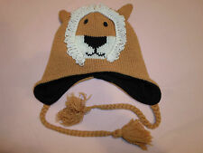 Lion Cub Winter Hat *Small/One Size Fits Most* Tassels Kids Large Knit Ski Cap