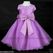 Girls Party Bridesmaid Princess Prom Wedding Christening Stone Bow Flower Dress
