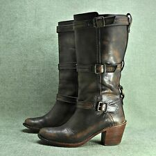 "FRYE ""CARMEN 3 STRAP"" Burnished Brown Leather Boot Women's sz 8 B"