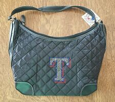 NEW MLB TEXAS RANGERS SPORT NOIR QUILTED HOBO BAG PURSE GENUINE MERCHANDISE