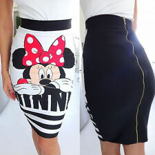 Sexy Women's Minnie Mickey Mouse Print Bodycon Cocktail Party Pencil Mini Skirt