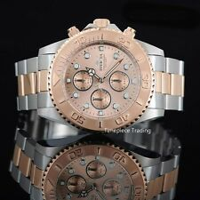 Invicta Pro Diver 18k Rose Gold Plated Two Tone Chronograph 200m W/R Men's Watch