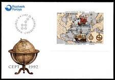Wiking L.Eriksson und Chr.Kolumbus. Segelschiffe. FDC. Block. Färöer Inseln 1992