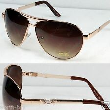 New Metal Frame Classic Aviator Mens Womens Sunglasses Shades Fashion Gold Brown
