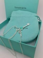 "Beautiful Tiffany & Co Blue Enamel Key Sliver Pendant & 16"" Cable Link Chain"