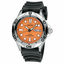 New Seiko Prospex Men's Quartz Solar Diver Watch SNE109 Orange USA Seller +Bonus