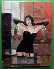 Art Deco Bob Hair Girl in Girdle & Gloves Original Oil Painting Zlatan Pilipovic