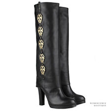 Thomas Wylde Black Leather Knee-High Gold Tone Skull Embellished Boots US8 UK5