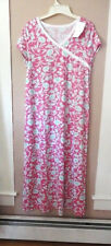 GARNET HILL S  Asian Wrap  Nightgown Green Cotton  Organic Pink Aqua Floral  NEW