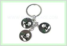 3-in-1 China Panda Bamboo Enamel Metal Keyring Fob Bag Tag Party Loot Bag Filler