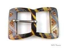 "Vintage LUCITE & Orange Rhinestone Belt Buckle 3"" by 1 3/4"""