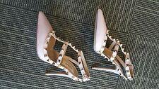 Valentino NIB $1075 rockstud ankle t strap water rose shoes EU 37 US 7