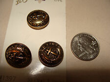 """Set of 3 vintage Le Chic brass-toned Anchor Buttons NOS 3/4"""" Canal di Vieux"""